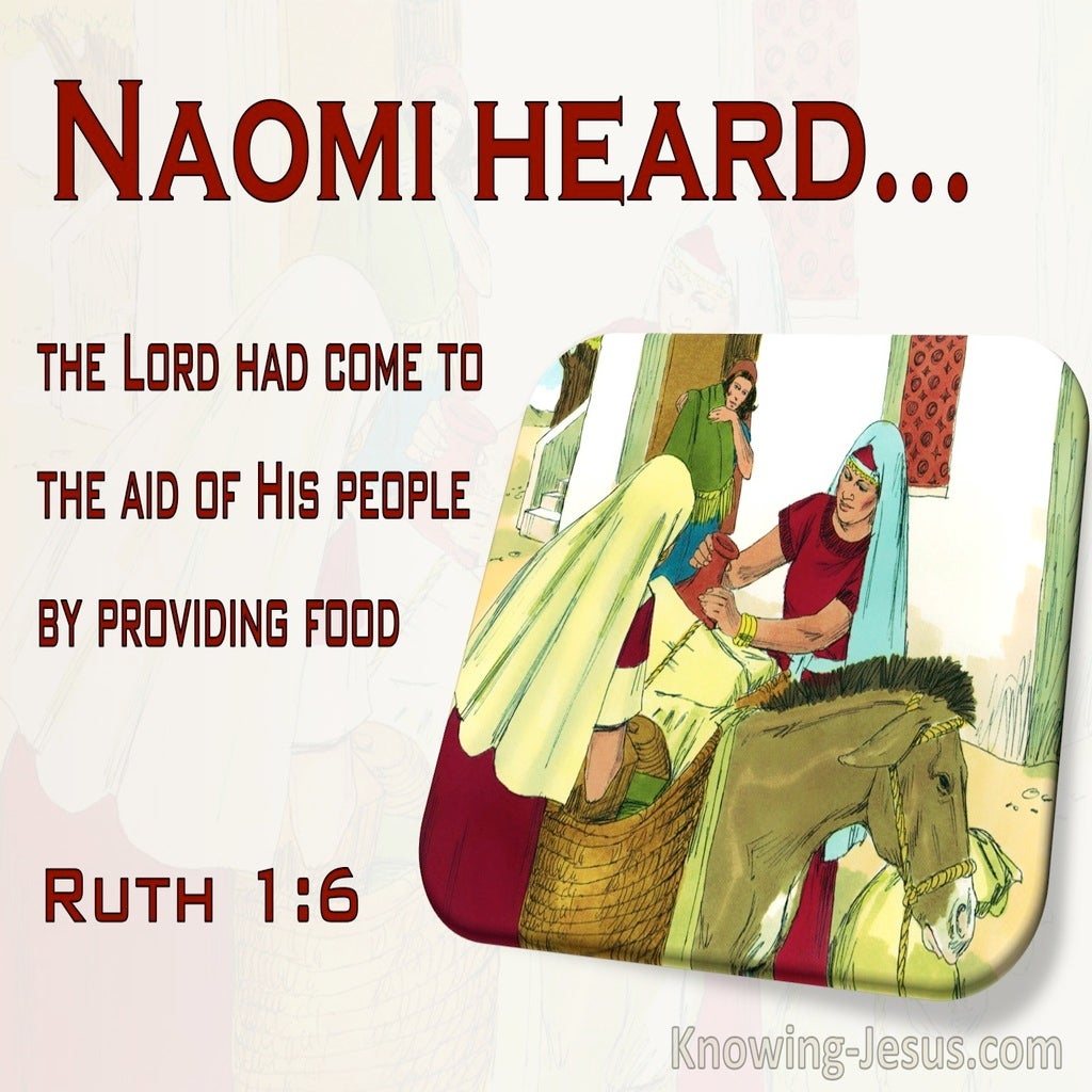 Ruth 1:6 Naomi Hear God Had Come To The Aid Of His People (red)