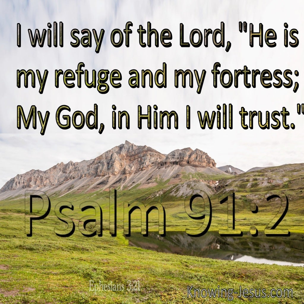 Psalm 91:2 The Lord Is My Refuge And Fortress (green)