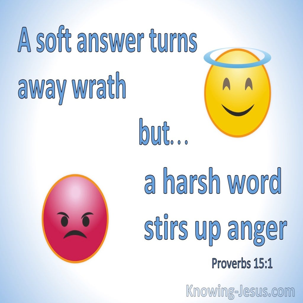 Proverbs 15:1 A Soft Answer Turns Away Wrath But Harsh Words Stirs Up Strife (blue)