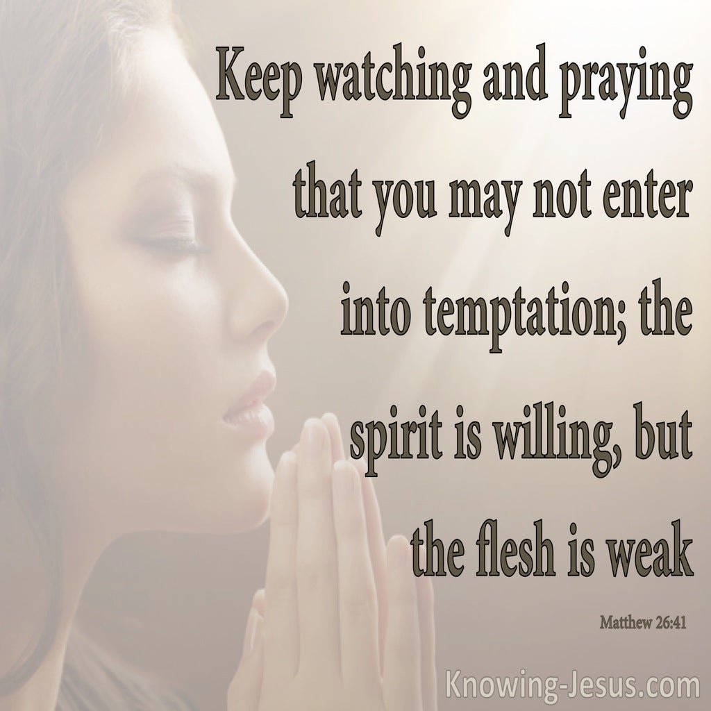 Matthew 26:41 Watch And Pray So You Do Not Enter Into Temptation (brown)
