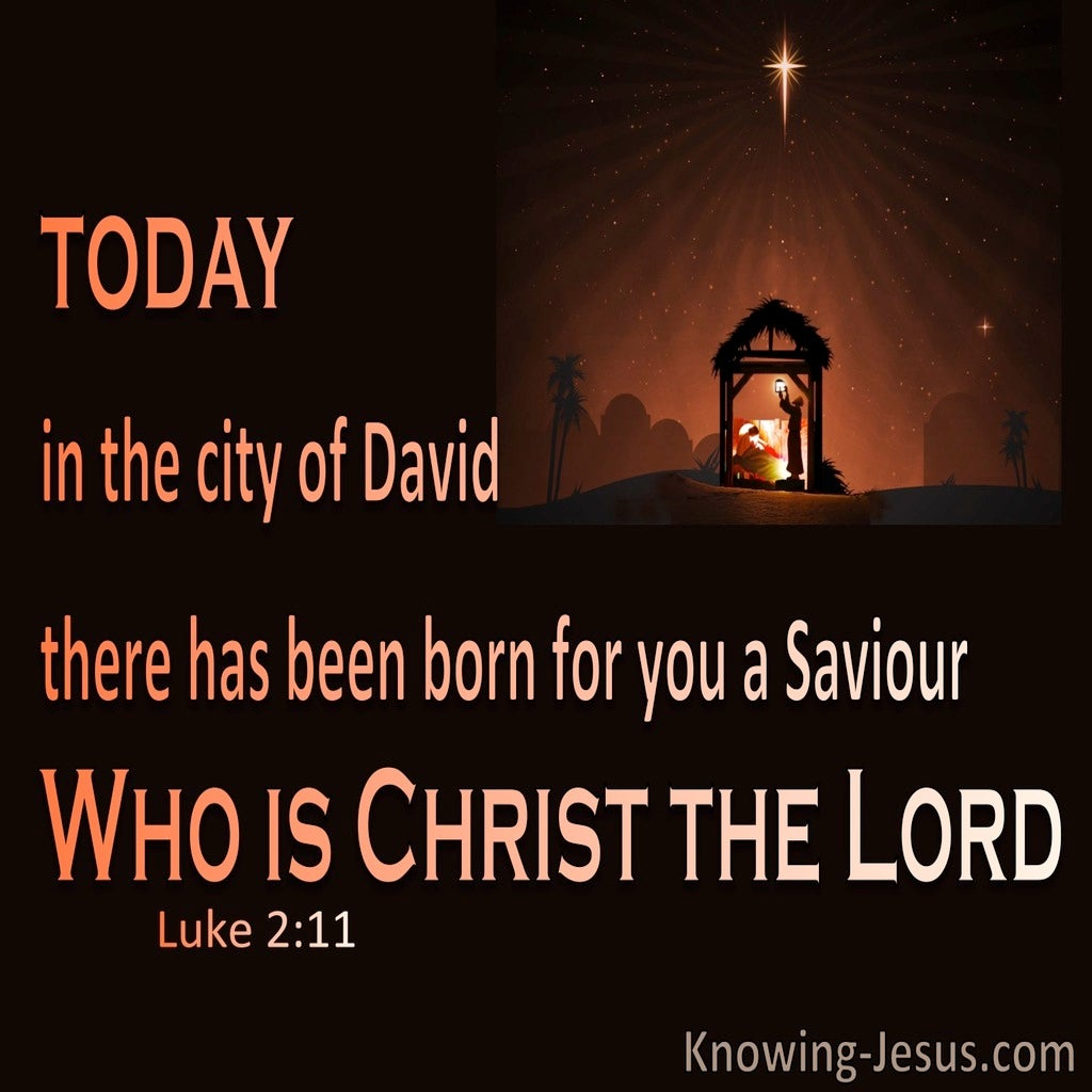 Luke 2:11 Born A Saviour Who Is Christ The Lord (orange)