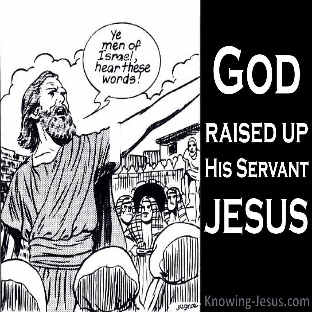 Acts 3:26 God Raised Up His Servant Jesus (black)
