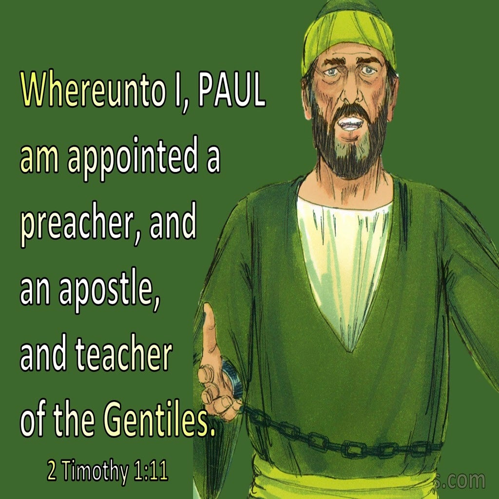 2 Timothy 1:11 Appointed Preacher Apostle And Teacher (green)