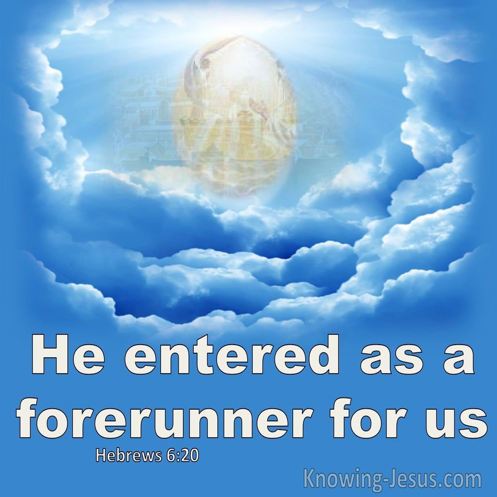 Hebrews 6:20 He Entered As Forefunner For Us (blue)