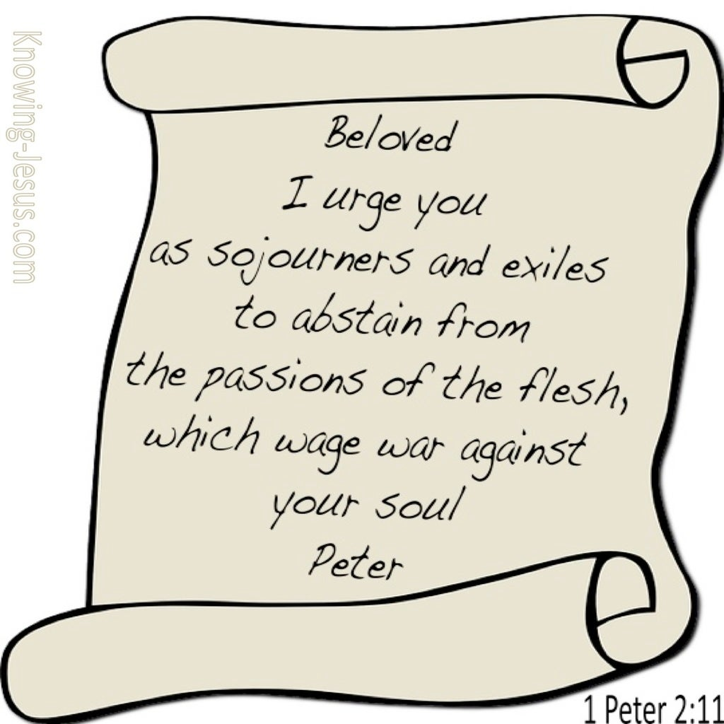1 Peter 2:11 Abstain From Passions Of The Flesh (beige)