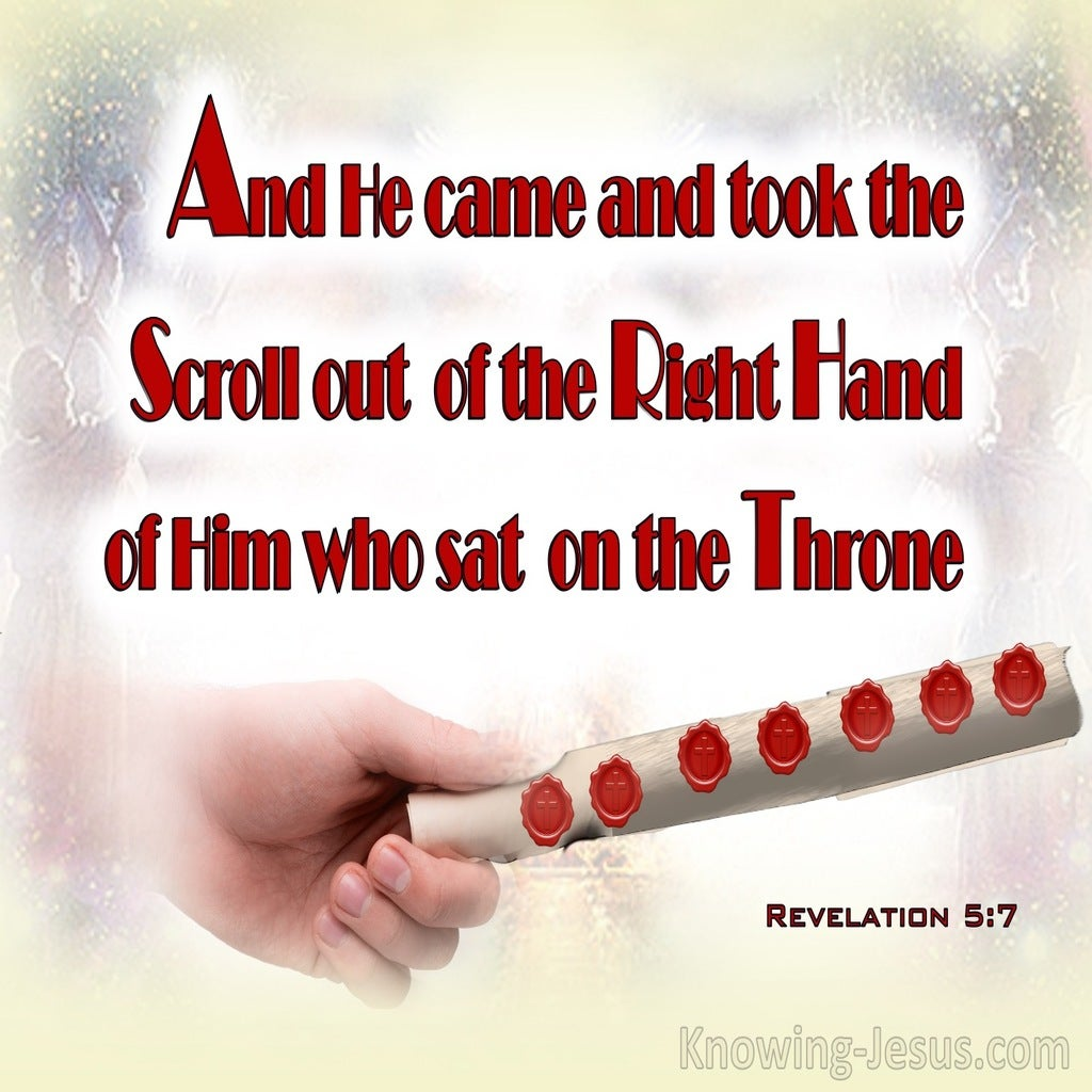 Revelation 5:7 He Came And Took The Book Out Of The Right Hand (red)