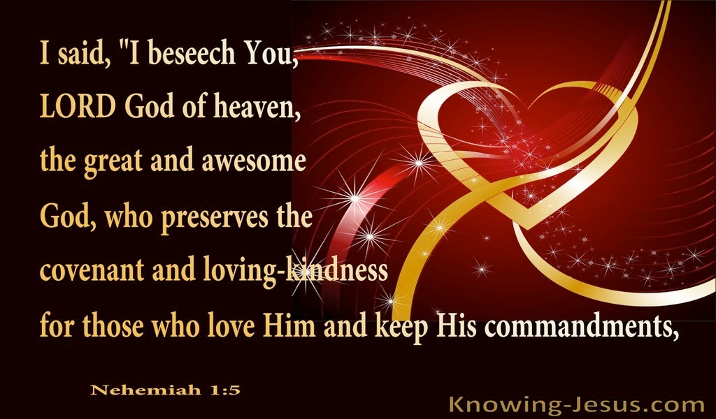 Nehemiah 1:5 God Preserves His Covenant With Kindness (red)