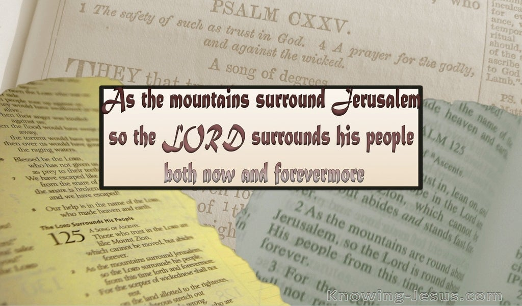 Psalm 125:2 The Lord Surrounds His People (beige)