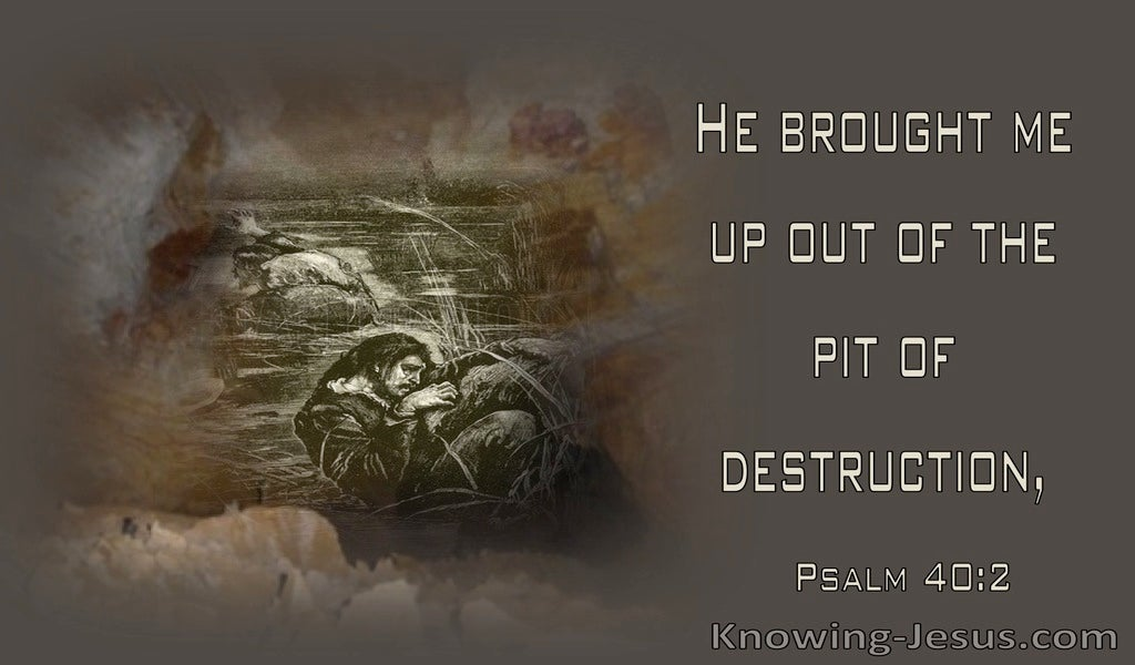 Psalm 40:2 He Brought Me Up Put Of The Pit Of Destruction (brown)