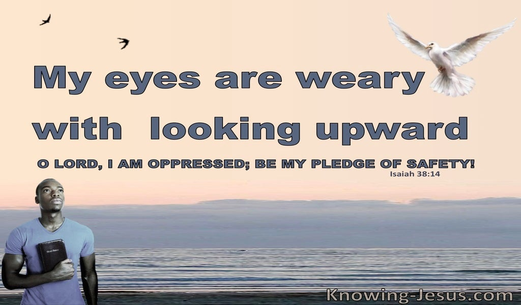 Isaiah 38:14 My Eyes Are Weary With Looking (pink)