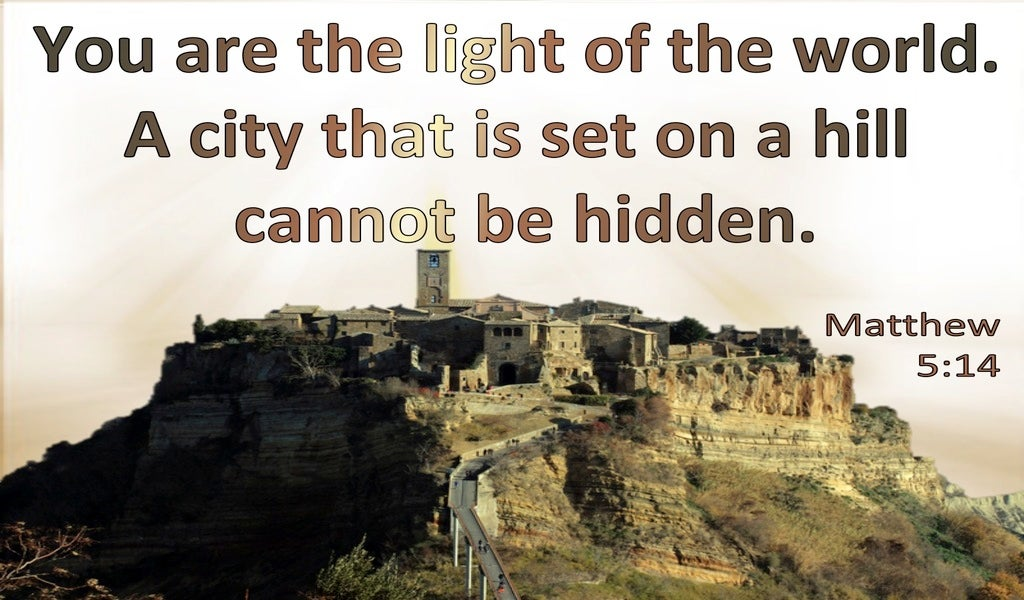 Matthew 5:14 You Are The Light Of The World A City Set On A Hill Cannot Be Hid (brown)