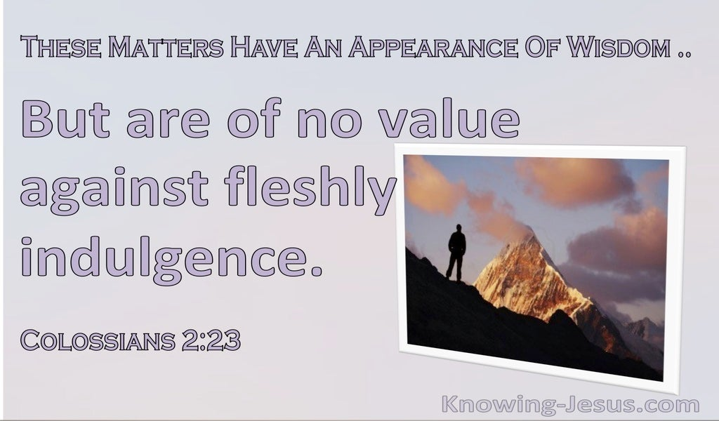 Colossians 2:23 These Matters Have An Appearance Of Wisdom But Are Of No Value (purple)