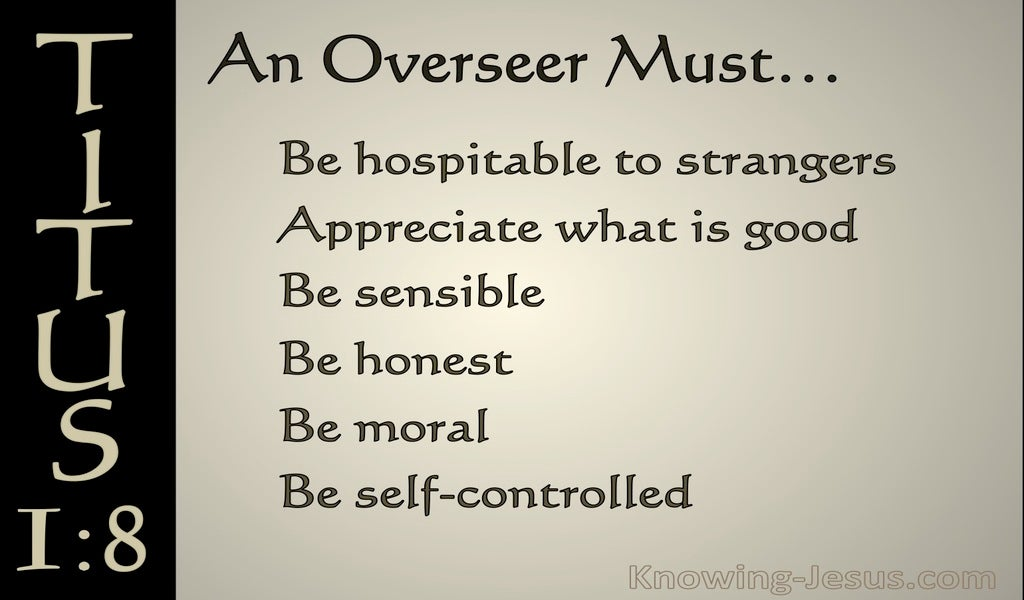 Titus 1:8 An Overseer Must Be Hospitable (gray)