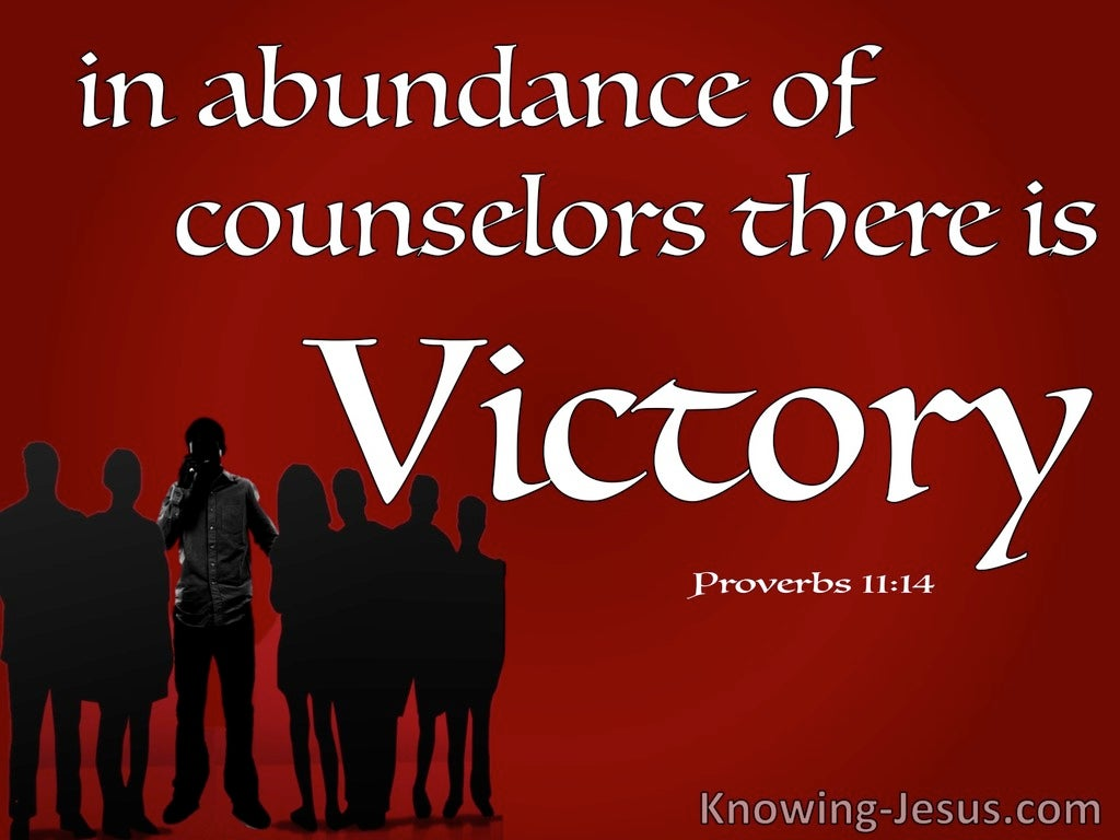 Proverbs 11:14 In Abundance Of Counsellors (red)