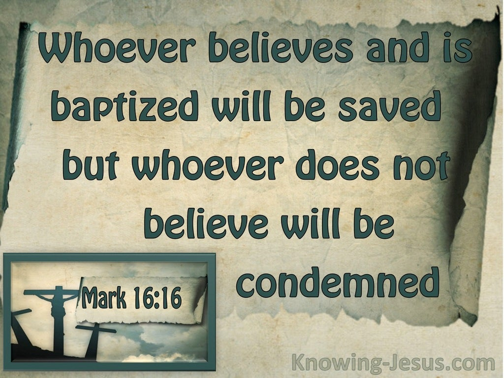 Mark 16:16 Whoever Does Not Believe WIll Be Condemned (sage)
