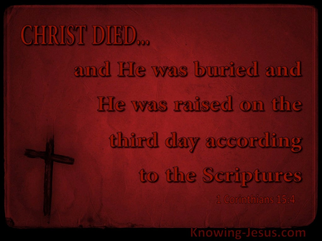 1 Corinthians 15:4 He Was Buried And Raised According (brown)
