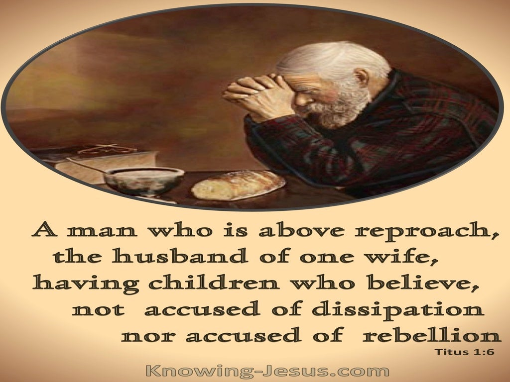 Titus 1:6 A Man Who Is Above Reproach (brown)