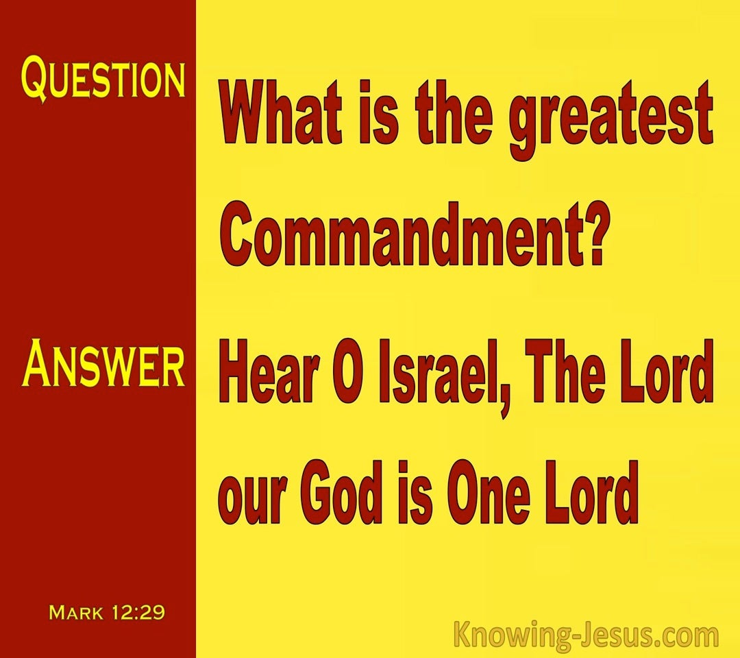 Mark 12:29 The Lord Our God Is One Lord (yellow)