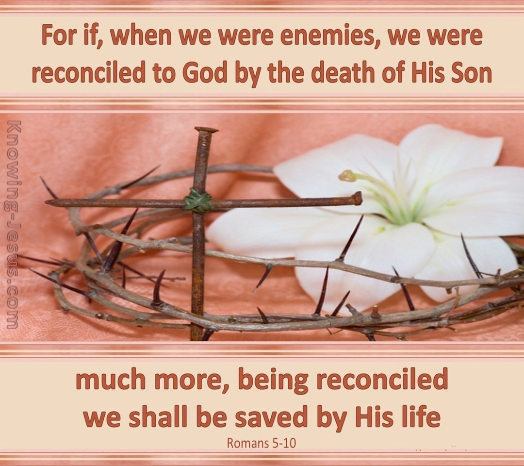 Romans 5:10 Reconciled To God (pink)