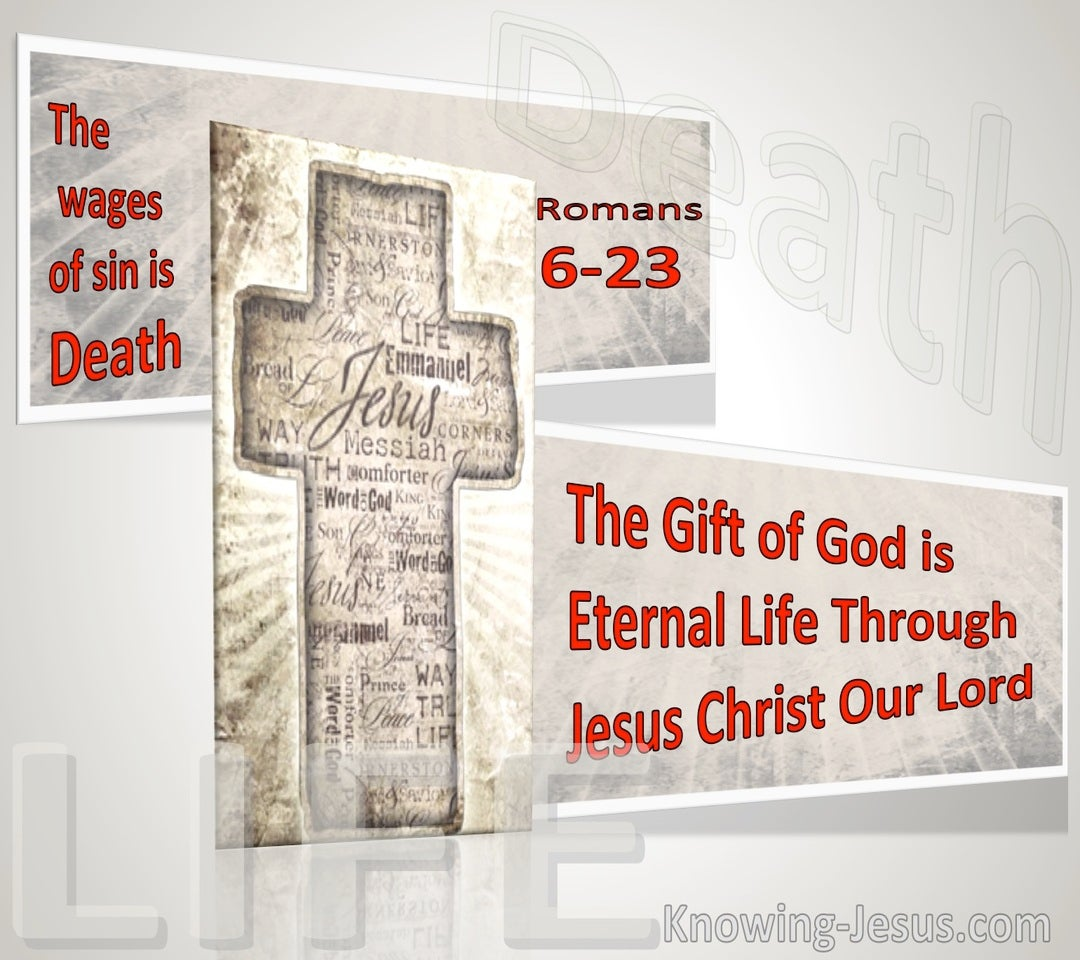 Romans 6:23 The Wages Of Sin Is Death; But The Gift Of God Is Eternal Life Through Jesus Christ Our Lord (pink)