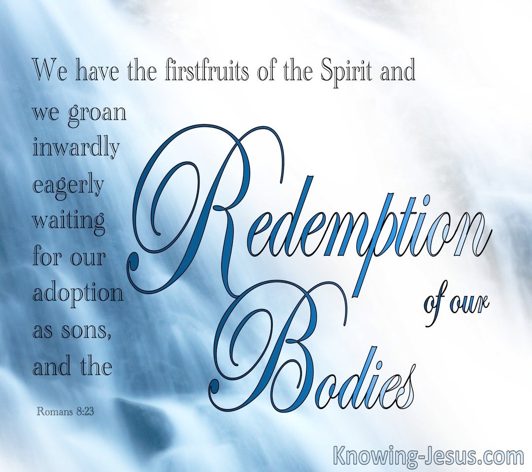 Romans 8:23 Waiting For The Redemption Of Our Bodies (blue)