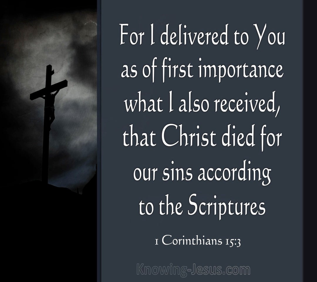 1 Corinthians 15:3 Christ Died For Our Sins (gray)
