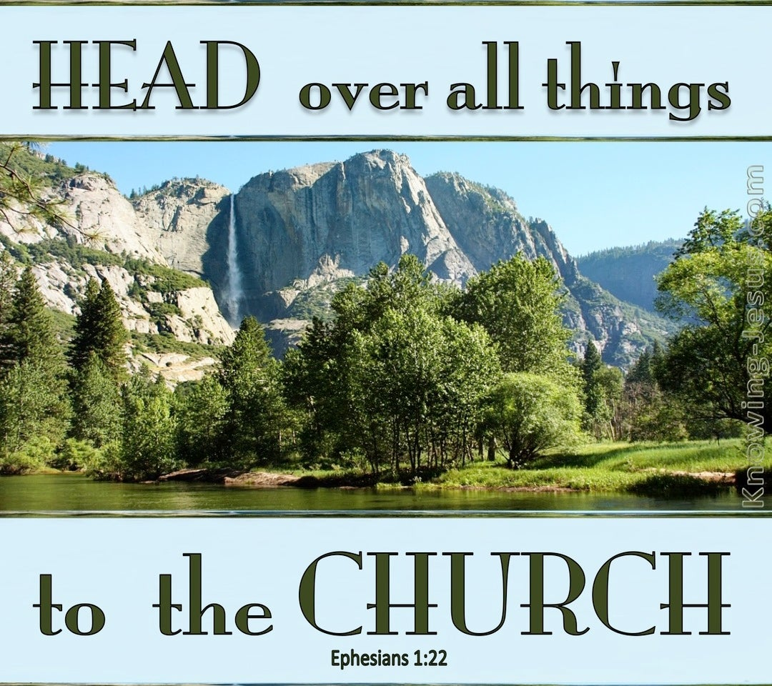 Ephesians 1:22 Head Over All Things To The Church (blue)