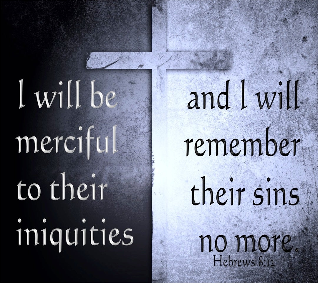 Hebrews 8:12 I Will Remember Their Sins No More (black)