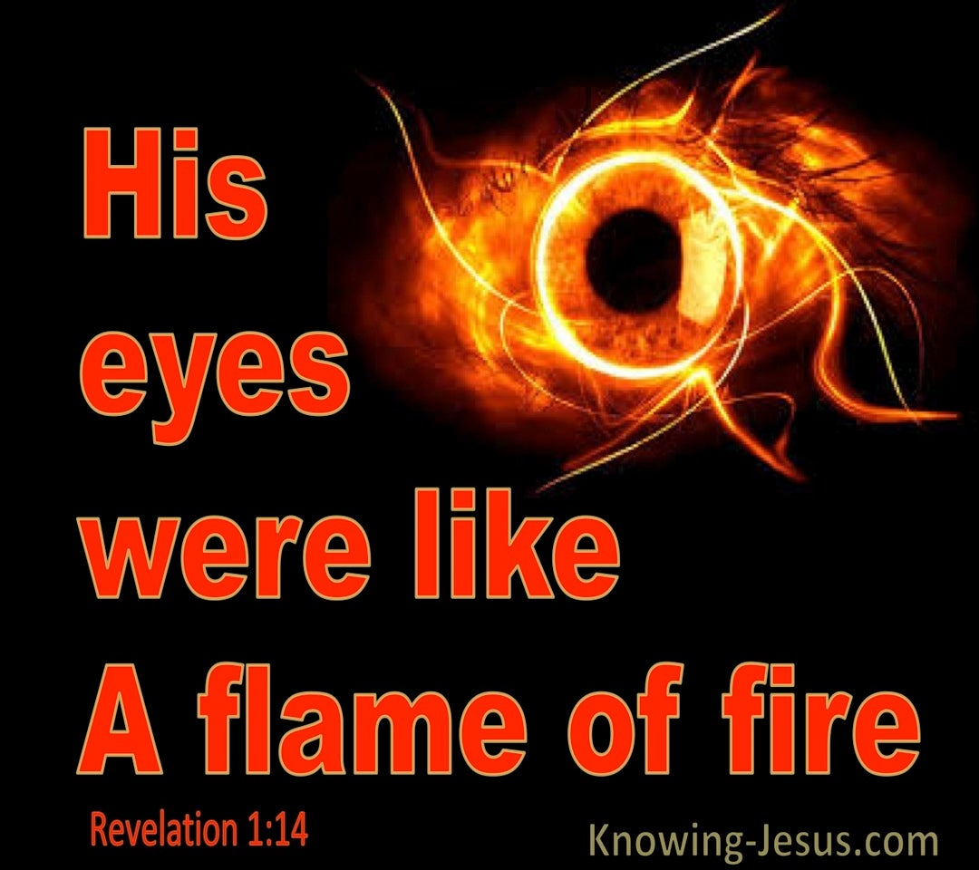 Revelation 1:14 His Eyes Were Like A Flame Of Fire (red)