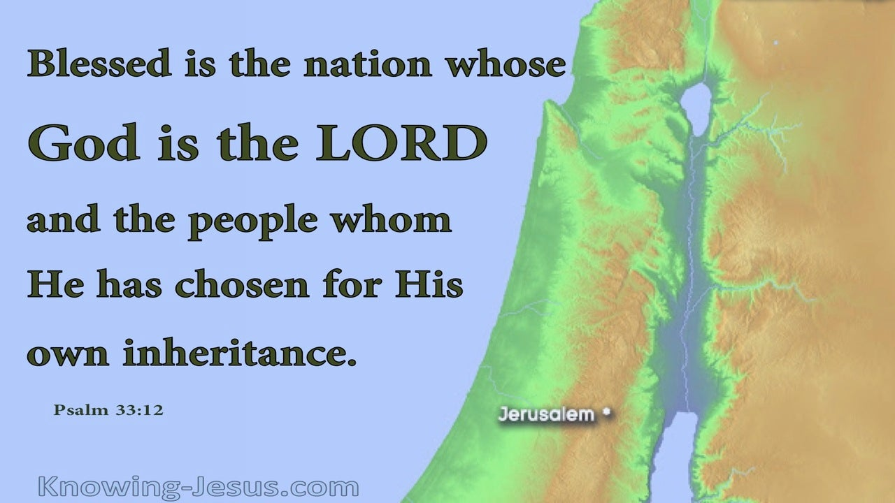 Psalm 33:12 Blessed Is The Nation Whose God Is The Lord (green)