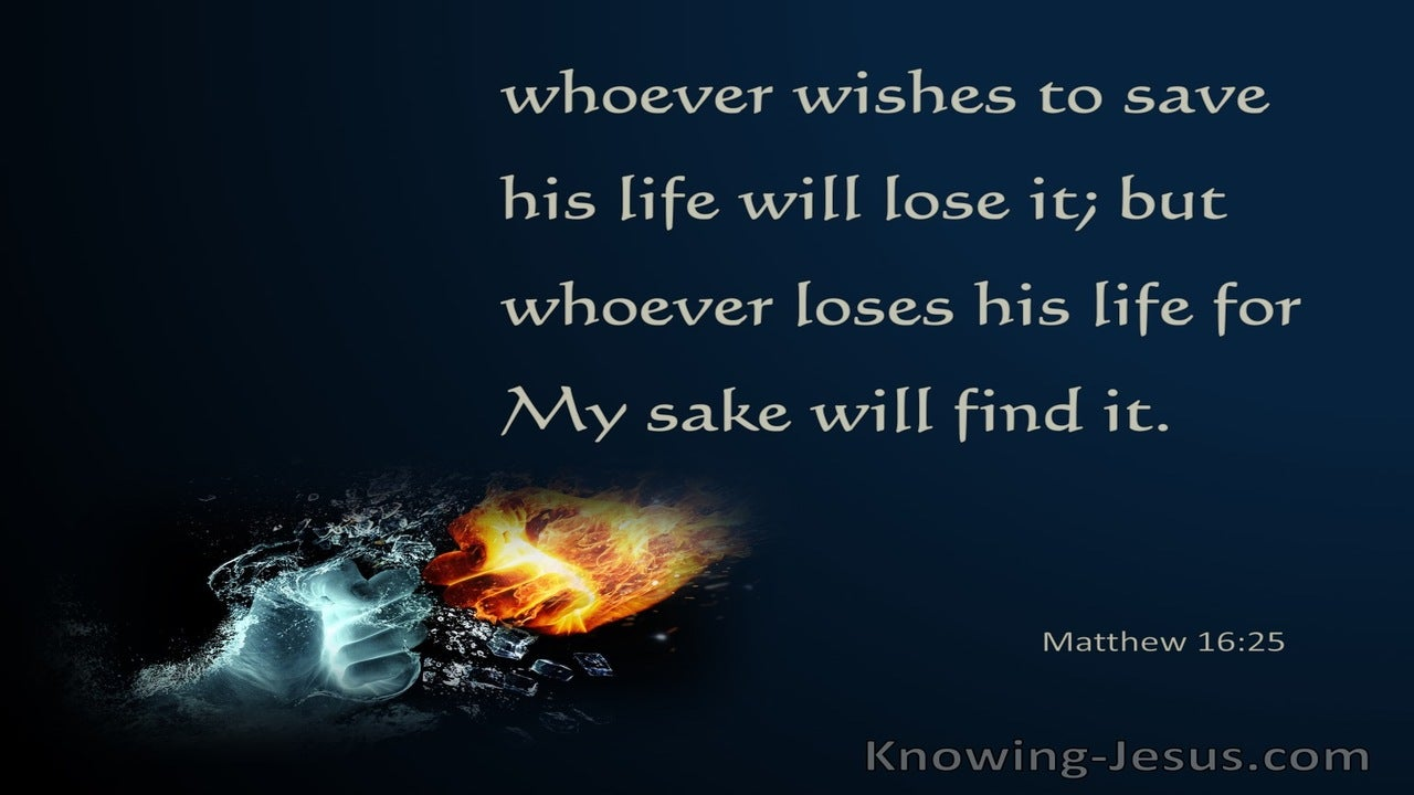 Matthew 16:25 Whoever will lose His life (navy) bible
