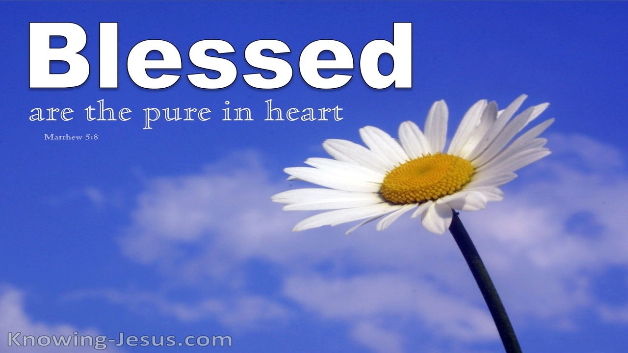 Matthew 5:8 Blessed Are The Pure In Heart (white)