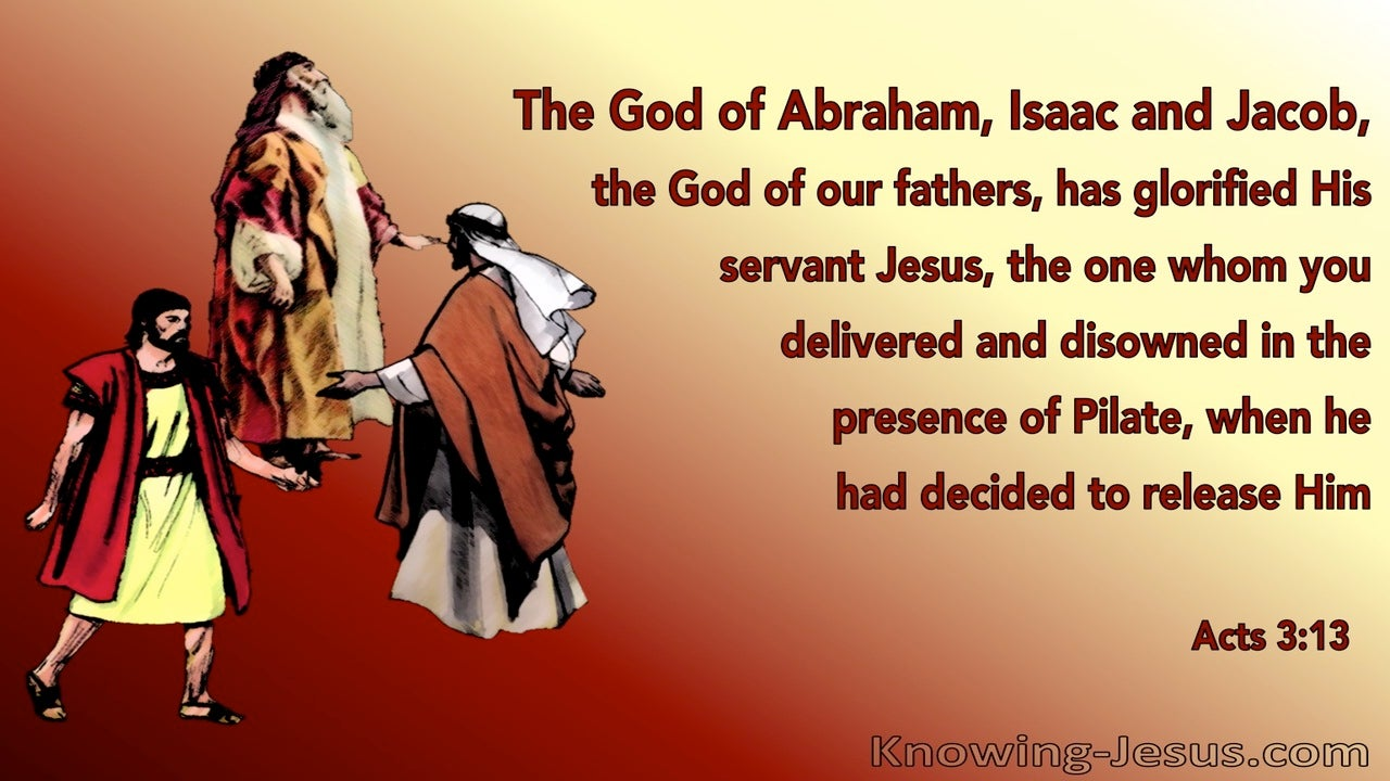 Acts 3:13 The God Of Abraham, Isaac and Jacob (red)