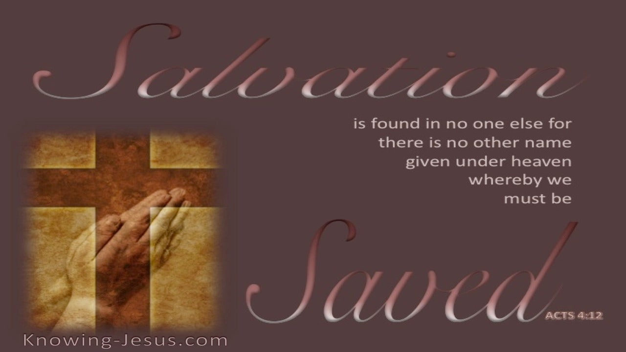Acts 4:12 Salvation In No Other Name (brown)