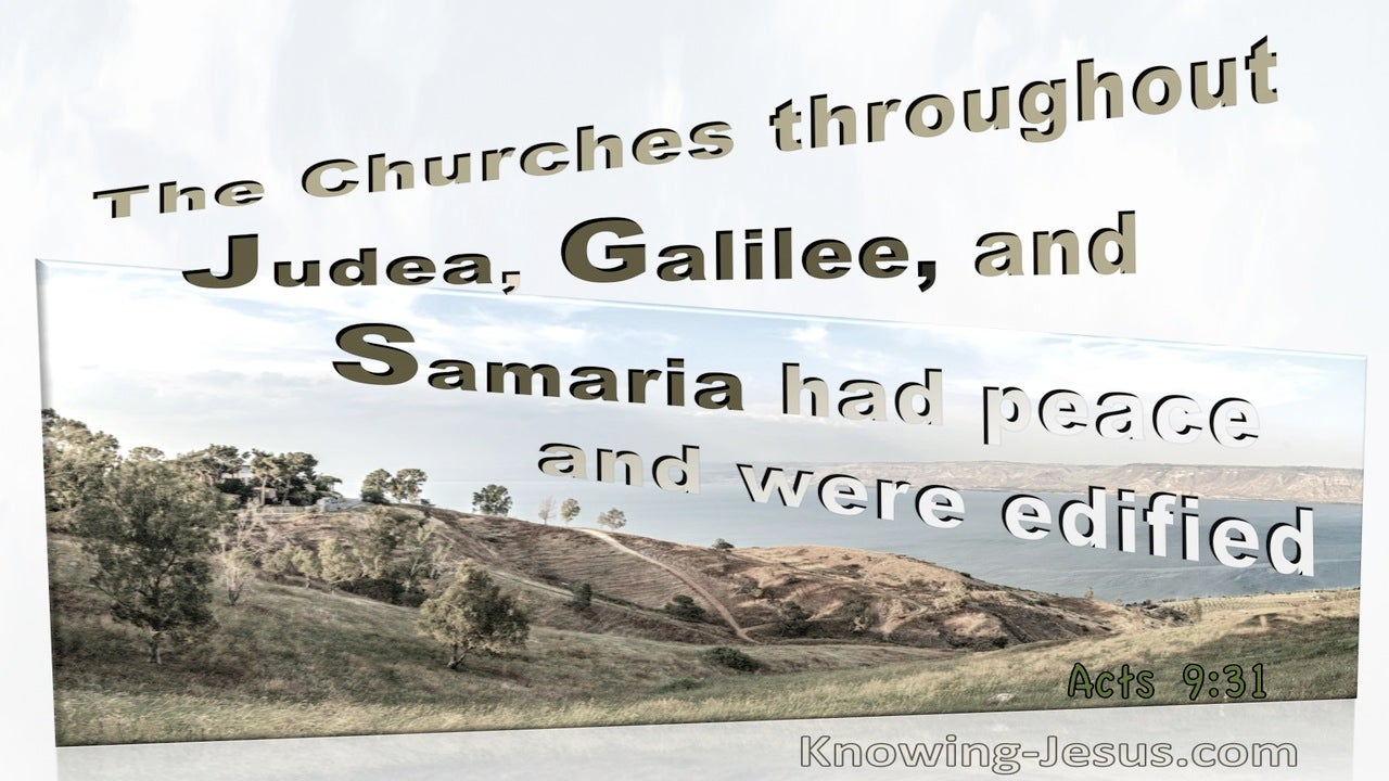 Acts 9:31 The Churches In Judea, Galilee, And Samaria Had Peace And Were Edified (cream)