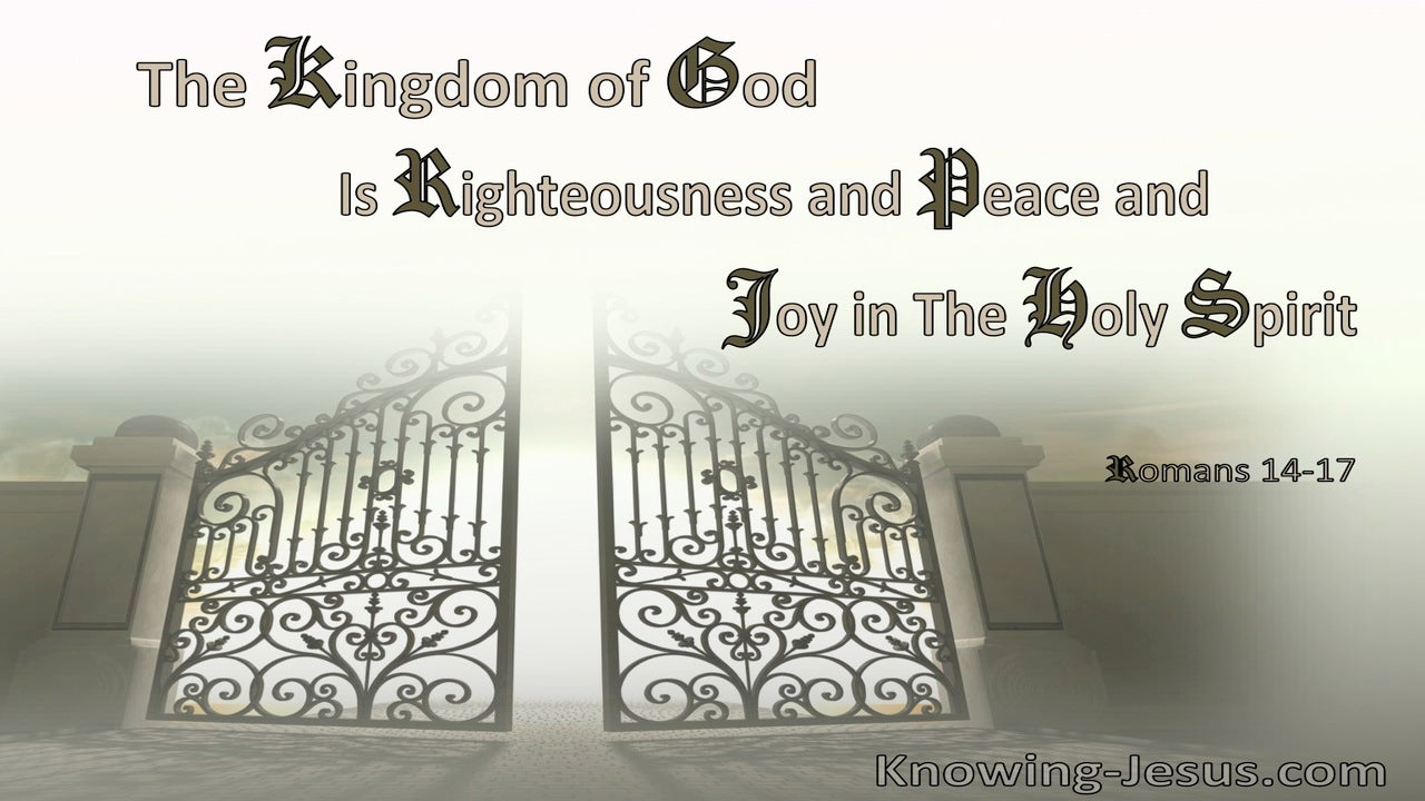 Romans 14:17 The Kingdom Of God Is Not Eating And Drinking, But Righteousness And Peace And Joy In The Holy Spirit (sage) bible