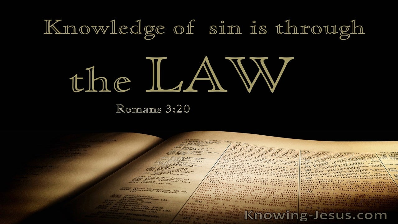 Romans 3:20 Knowledge of Sin is Through the Law (black)