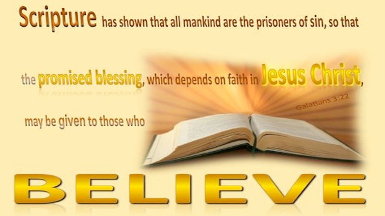 Galatians 3:22 Blessing Depend on Faith in Christ (brown)