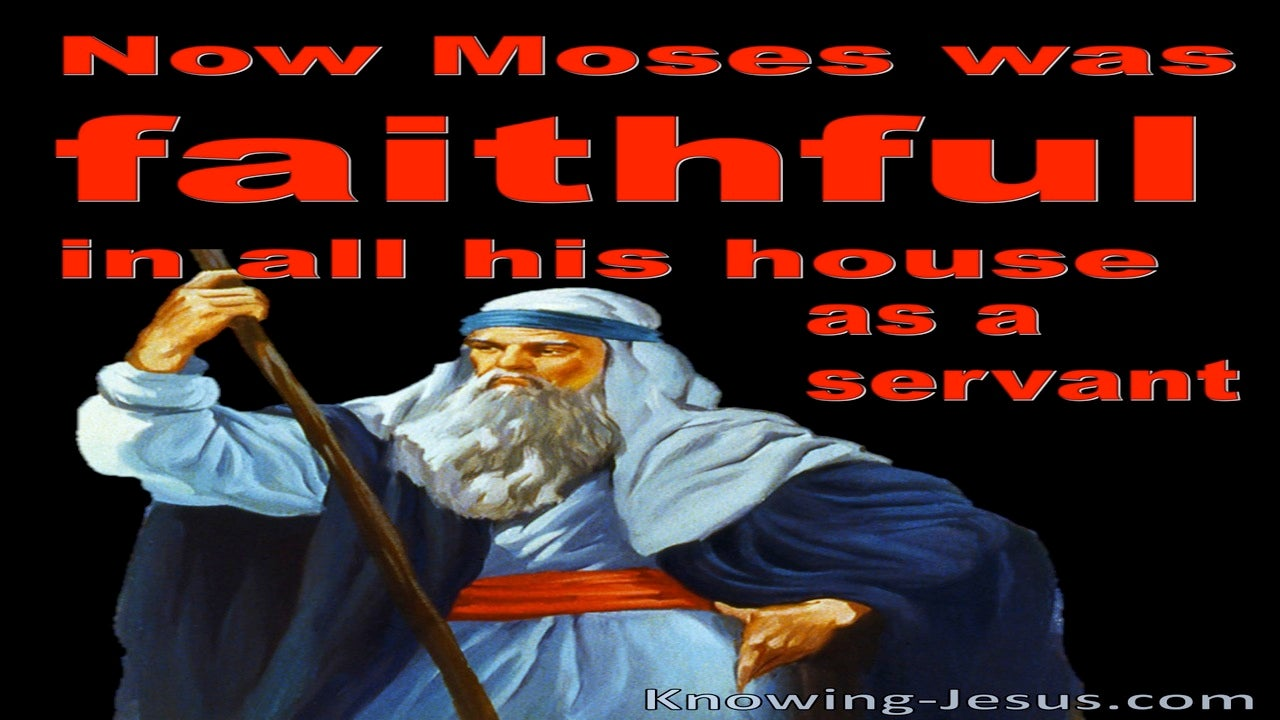 Hebrews 3:5 Moses Was Faithful In His House As A Servant (red)