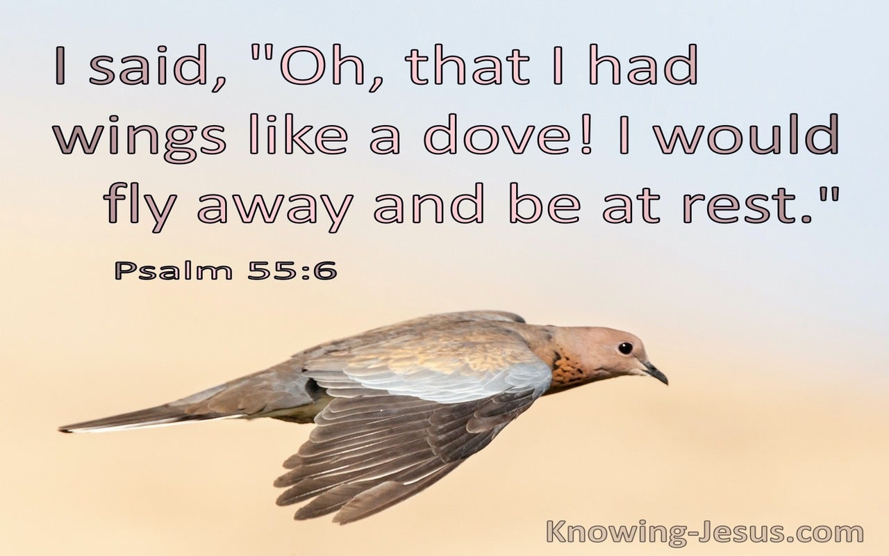 Psalm 55:6 Oh That I Had Wings Like A Dove (blue)