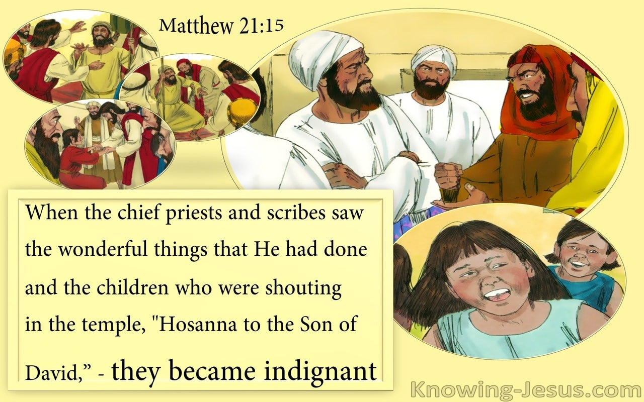 Matthew 21:15 They Became Indignant (yellow)