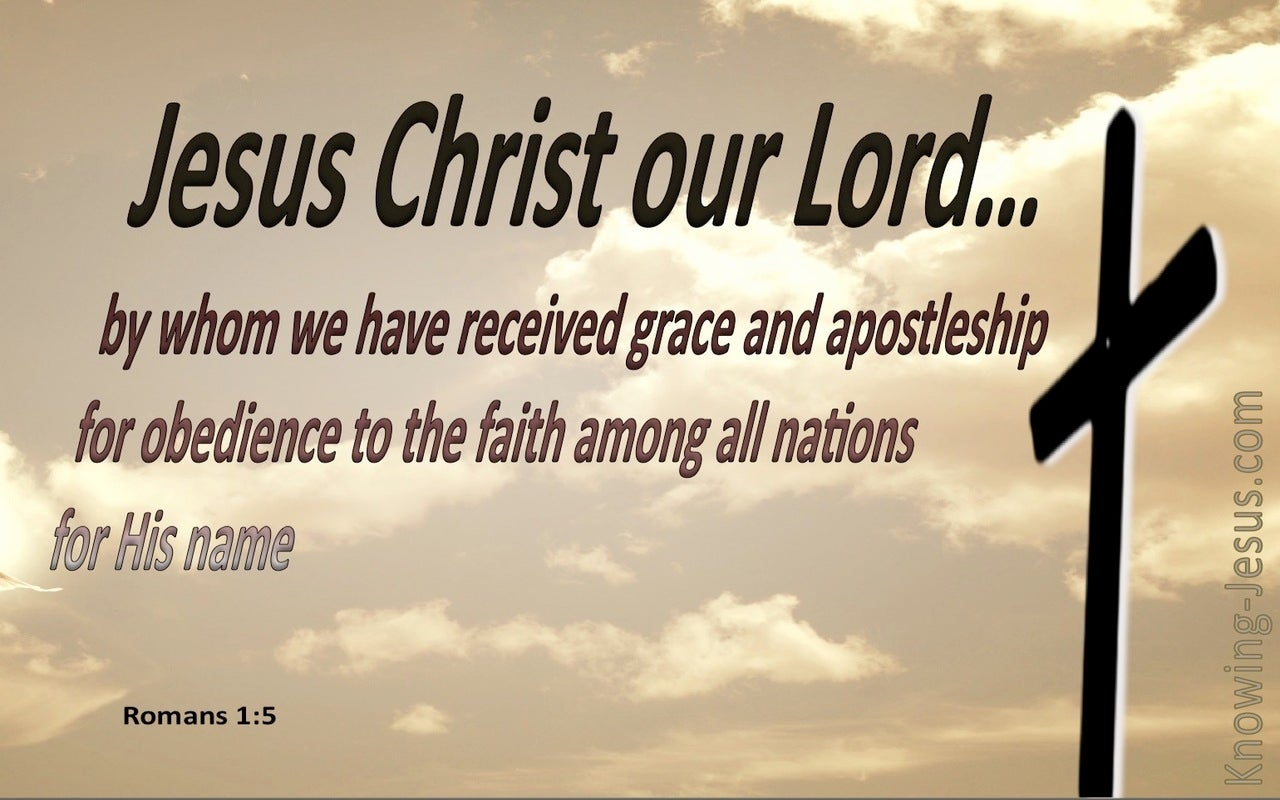Romans 1:5 By Whom We Received Grace And Apostleship (beige)