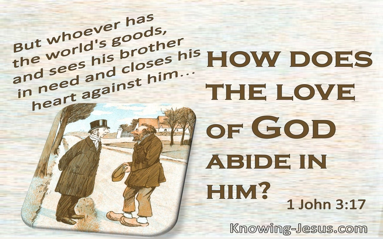 1 John 3:17 How Can The Lord Of God Abide In A Man (brown)