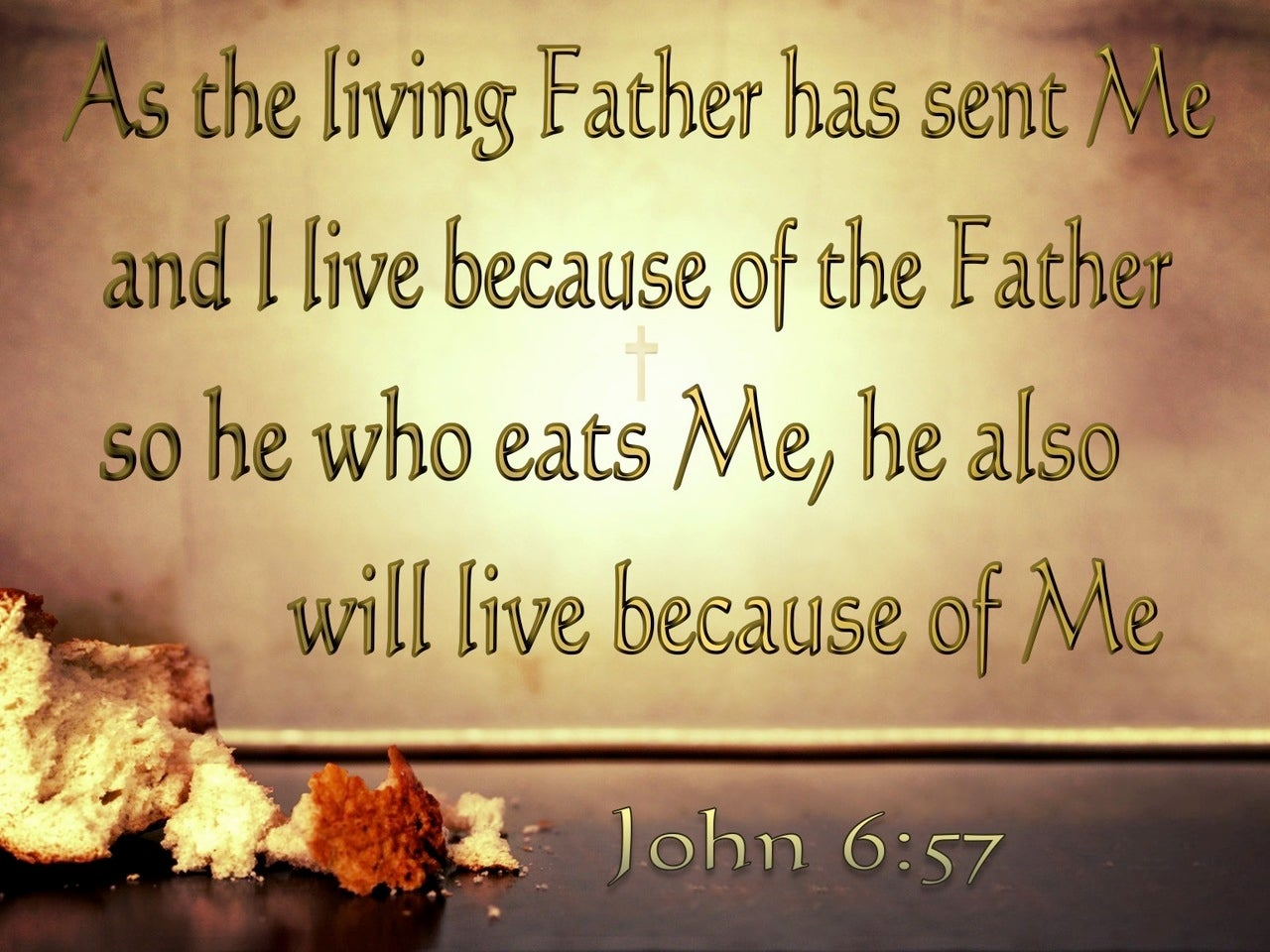 John 6:57 He Who Eats Of Me Will Live (brown)