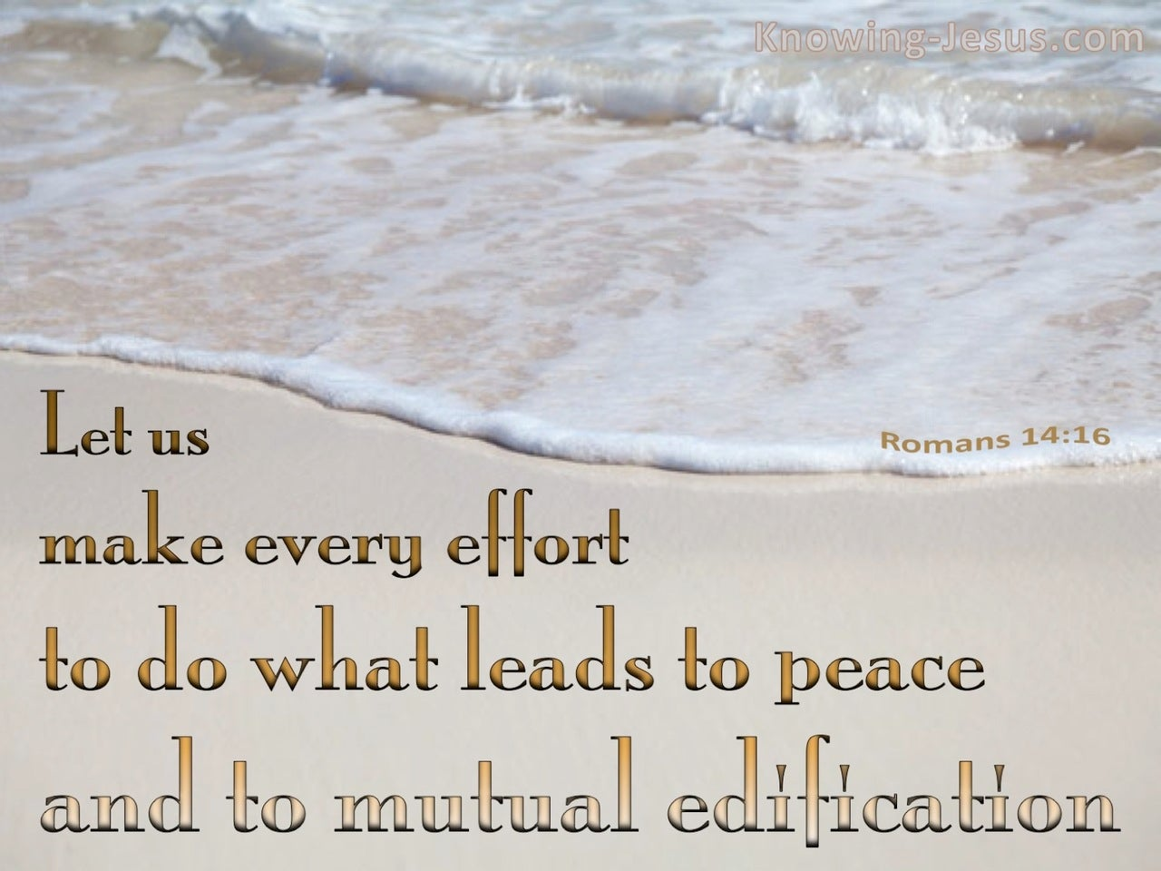 Romans 14:16 Do What Leads To Peace (beige)