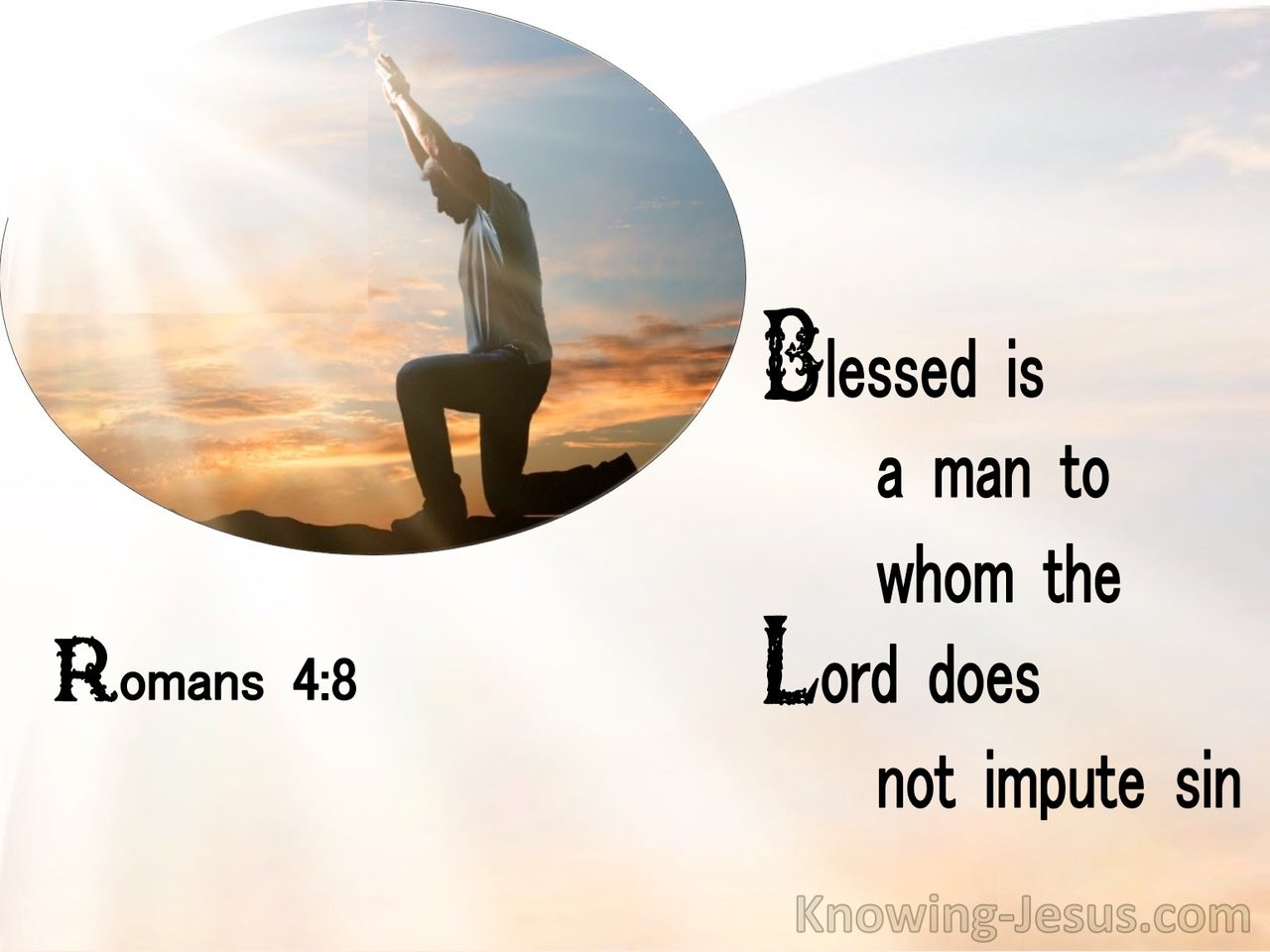 Romans 4:8 Blessed Is The Man To Whom The Lord Does Not Impute Sin (orange)