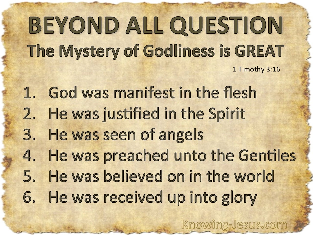 1 Timothy 3:16 Great Is The Mystery Of Godliness (beige)