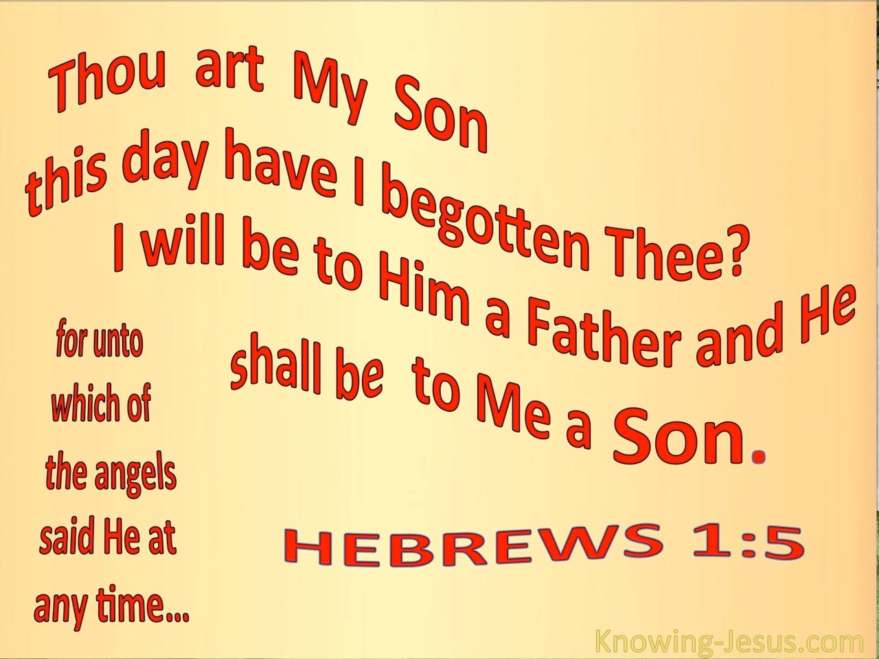 Hebrews 1:5 This Day Have I Begotten Thee (beige)