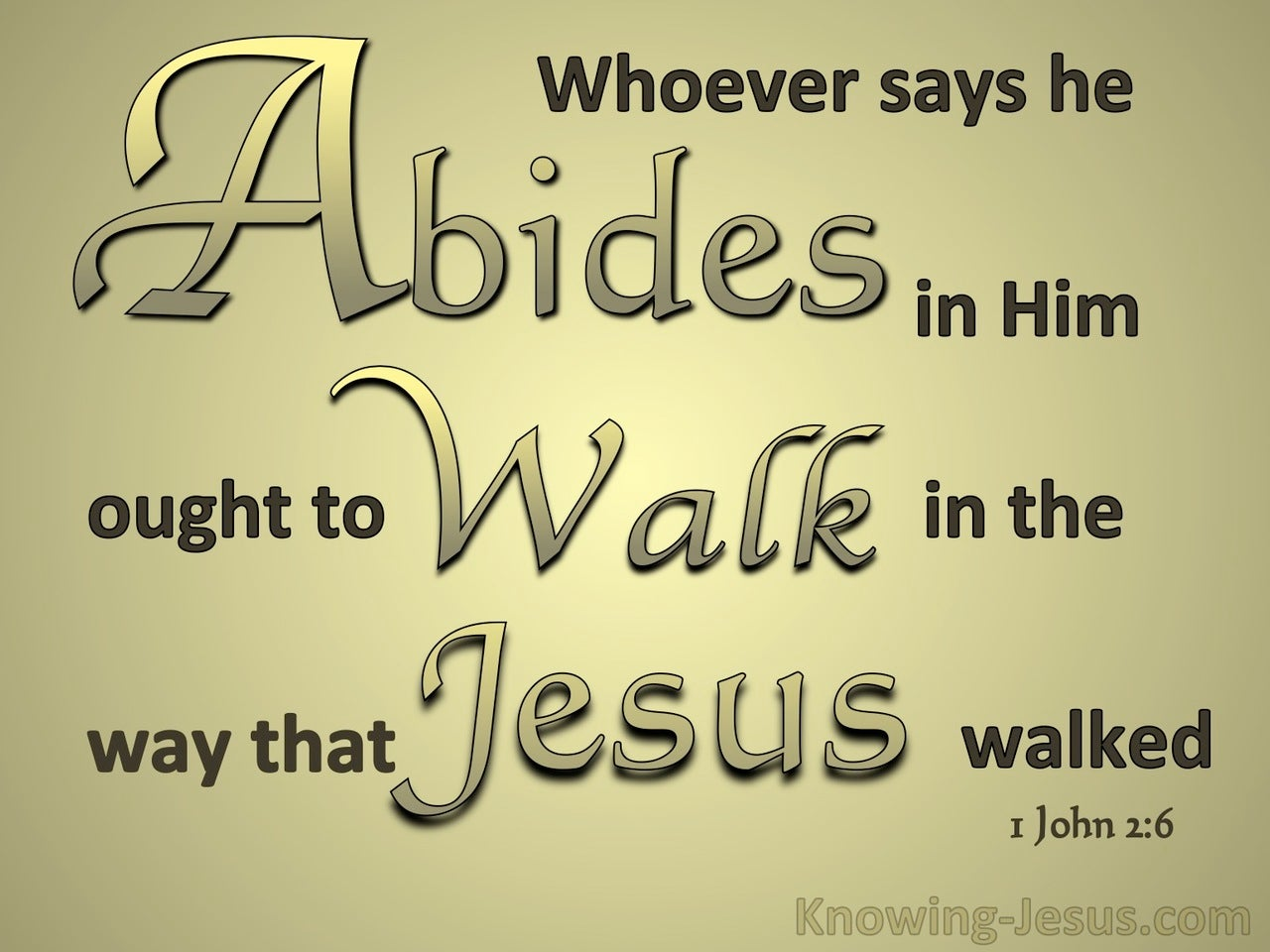 1 John 2:6 Abide In Him Walk Like Him (gold)