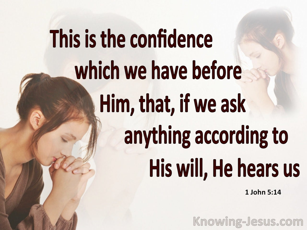 1 John 5:14 Confidence In Him (brown)